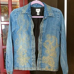 CHICO'S METALIC EMBROIDERED JEAN JACKET